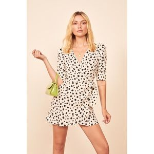 NWT Reformation Deanna mini dress Ink Blot, dotted